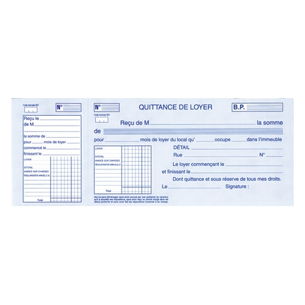 Elve Carnet 224 Souche Quittances De Loyer 100 X 270 Mm 137