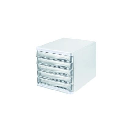 Helit bloc de rangement 5 tiroirs blanc transparent h6129402 - Bloc rangement bureau ...
