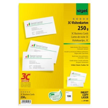 Sigel Cartes De Visite 3C 85 X 55 Mm 250 G M2 Extra Blanc
